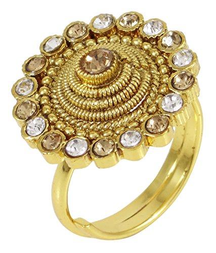 Banithani concepteur goldtone doigt bande femmes de bijoux ethniques traditionnelle bague réglable Or