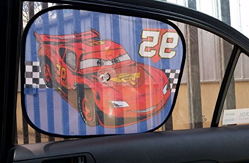 Image of XtremeAuto® Disney Pixar Cars, Lightning McQueen, Side Car Sunshade X2 - 36cm x 44cm - Complete with XtremeAuto Sticker