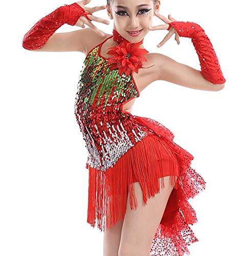 Black Temptation Qualitäten Quaste Tanzkleider Mädchen Latin Kostüm Leistung Kleid In Rot