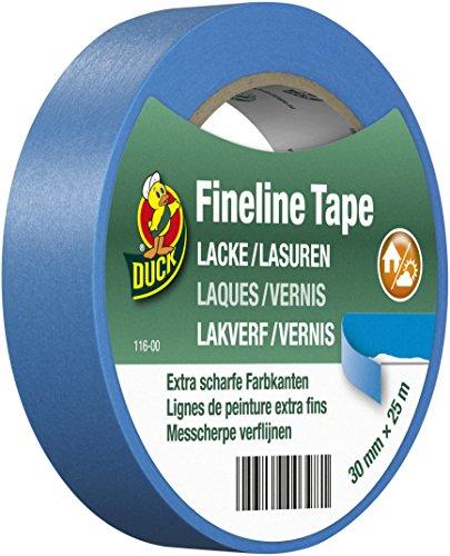 DUCK Fineline Tape 116-00 - Imprägniertes Maler Abklebeband für Lacke & Lasuren - Malerband mit Washi-Tec für innen & außen - 30mm x 25m 00 Band