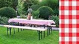 TPFGarden Set 3Teilig Kurze TISCHE und 50-70cm Breite Gepolstert Rot kariert