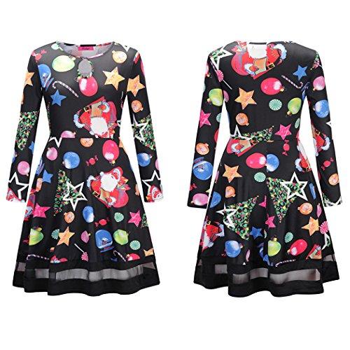 ECOWISH Damen Langarm Weihnachten Cocktailkleid Schneemann Festlich Partykleid A-linie Kleid 1297