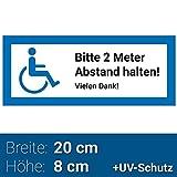 """Aufkleber Rollstuhlfahrer 20x8cm """"Bitte 2 Meter Abstand halten! Vielen Dank!"""", Rollstuhl Symbol / Zeichen, Parken mit Behinderung, Rollstuhlaufkleber, Behindertenaufkleber, Rollstuhlzeichen, Autoaufkleber"""