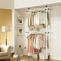 Direct Online Houseware Telescopic Wardrobe Organiser Hanging Rail Clothes Rack Adjustable Storage Shelving