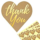 4cm Gold geprägt Herzform Danke Thank You Etiketten - 200 Stück