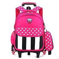 MAXYOYO Set de sacs scolaires métallique rose rouge 6 wheels