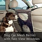 Festnight Barrera para Autos para Perros Asiento Delantero Barrera para Mascotas Obstáculo de Malla con Dos Ventanas de Vista Prevenir Molestar a los niños Perros