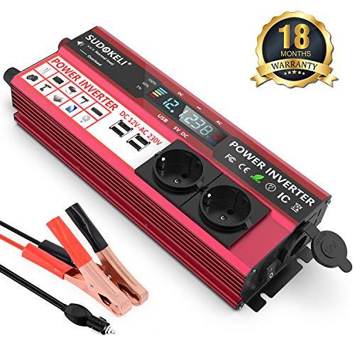 SUDOKEJI 1000W Spannungswandler 12v 230v Wechselrichter Umwandler/Stromwandler 12 auf 230 Car Inverter mit Kfz Zigarettenanzünder-buchse und 4,8 A 4 USB und 2 Steckdose mit LCD Display
