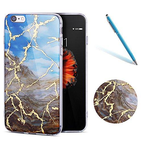 """iPhone 6sPlus Schutzhülle, Neue Marmor CLTPY iPhone 6Plus Schlank Hybrid Handytasche Leichtbau Gummi Abdeckung Luxus Bunt Motiv Back Cover für 5.5"""" Apple iPhone 6Plus/6sPlus (Nicht iPhone 6/6s) + 1 x  Himmelblau"""