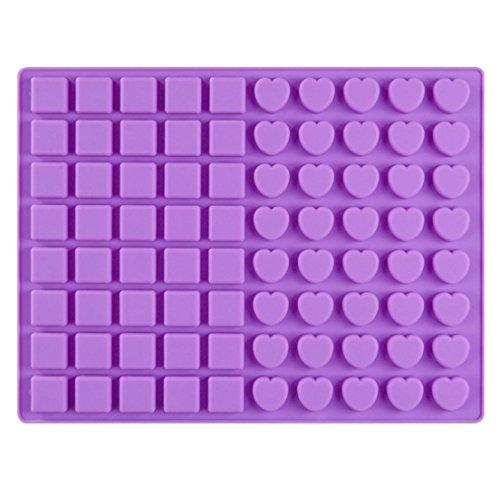 Dingsheng 80-Cavity Square & Herzform Silikonformen zur Herstellung von hausgemachten Schokolade Karamell Candy Gummibärchen Backform Silikon Candy Mold Gummibärchen
