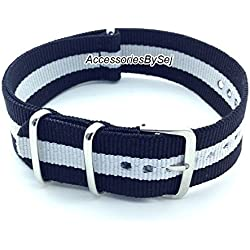 AccessoriesBySej ® TM - G10 NATO MOD NYLON WATCH STRAP - 35 Different Styles & Sizes - (18MM BLACK/WHITE 3S) - Presented with a FREE Luxurious AccessoriesBySej ® TM Velvet Gift Pouch/Bag