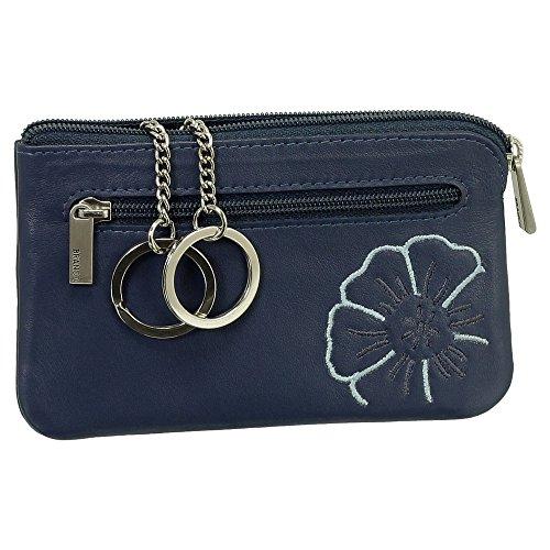 Leder Schlüsseletui Schlüsseltasche Schlüsselmappe Schlüsselbeutel mit Reißverschlussfach Farbe blau