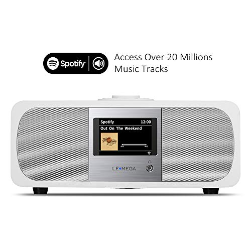 LEMEGA M3  Smart Hi-Fi Music System  2 1 Stereo  And Wireless Speaker With Wi-Fi  Internet Radio  Spotify  Bluetooth  DLNA  DAB  DAB   FM radio  Clock  Alarms  Presets  And Wireless App Control - Soft White Satin