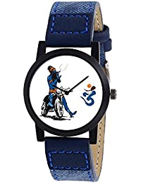 Swadesi Stuff Exclusive Stylish Black Dial Analog Watch For Men & Boys - Blue Bhole
