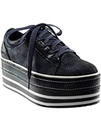 Angkorly - Scarpe Moda Sneaker Zeppa Zeppe Sporty Chic bi-Materiale Donna  Coccodrillo Lucide Tacco 4171d2bcf0d