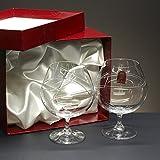 la galaica Set/Estuche de 2 Copas de Cristal para coñac o Brandy, talladas a Mano, colección Gastro.