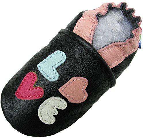 Carozoo Love Black, Chaussures Enfant/Bébé Semelle Souple Fille Pantoufle