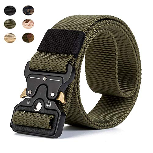 TP TACTICAL, Military Tactical Belt, Nylon Security Belt, Camouflage, Police, Airsoft and Hunting (Military Green)