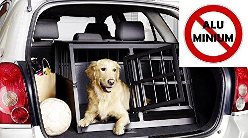 IMPAG Hunde-Transportbox Hundebox für Auto / Kofferraum | Aus stabilem Metall in 2 Größen | Für Hunde und Katzen | OHNE giftiges Aluminium (Double Box)