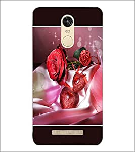 PrintDhaba Rose and Hearts D-1346 Back Case Cover for XIAOMI REDMI NOTE 3 (MEDIATEK) (Multi-Coloured)