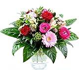 Express! Blumenversand - Frühlingsblumenstrauss - Pink Kisses - mit Ranunkeln, roten Rosen, Minigerbera und Beiwerk