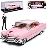 alles-meine GmbH Cadillac Fleetwood Serie 60 Limousine Pink mit Figur Elvis Presley 1955 1/43 Greenlight Modell Auto mit individiuellem Wunschkennzeichen