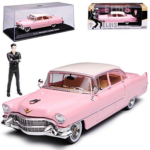 Greenlight Cadilac Fleetwood Serie 60 Limousine Pink mit Figur Elvis Presley 1955 1/43 Modell Auto mit individiuellem Wunschkennzeichen