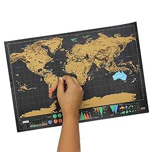 Mapa de rascar del mundo pequeño, mapa del mundo para viajes con tubo de transporte, mapa de rascar de lujo, póster divertido y colorido para rayar, negro y dorado