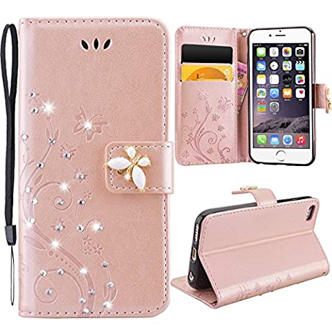 Coque iPhone 6S, Etui iPhne 6 Rose d'or, GrandEver Housse Cuir PU Leather Etui Pochette Flip Wallet Housse Bling Strass Diaman 3D Papillon Fleurs Motif Bookstyle Case Cas Portable Holster Fonction Stand Magnetique Dustproof Protective Shell Fente de Carte Housse Protecteur pour Apple iPhone 6/iPhone 6S (4.7