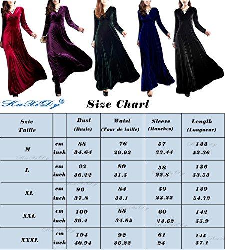 KAXIDY Femme Velours Robe Col V Manches longues Robe de Soirée Robe Longue Violet