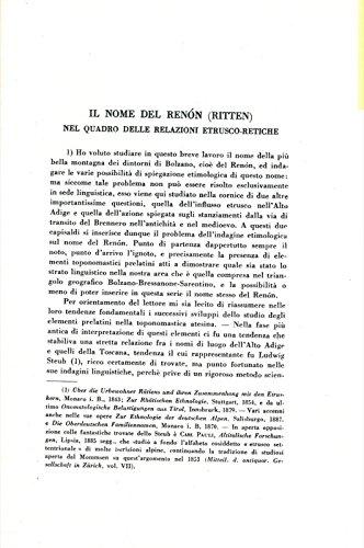 Il nome del Renon (Ritten) nel quadro delle relazioni etrusco-retiche.