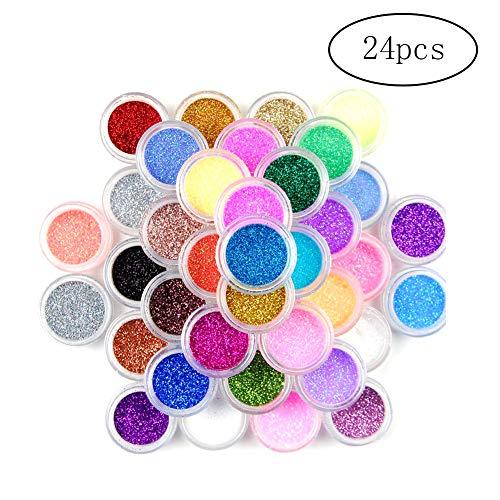 Nail Art 24 couleurs poussière Glitter poudre multi bricolage ongles gel acrylique ongles décoration 24X