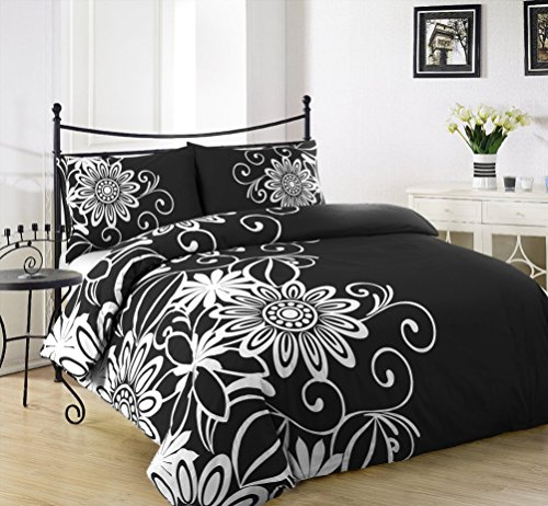 ARLINENS Duvet Quilt Cover with Pillowcases Bedding Set Exclusive Designs in Following Sizes (DOUBLE, HELEN BLACK&WHITE)