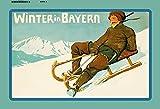 Winter in Bayern ski fahren schlitte metal sign deko schild blech projekt