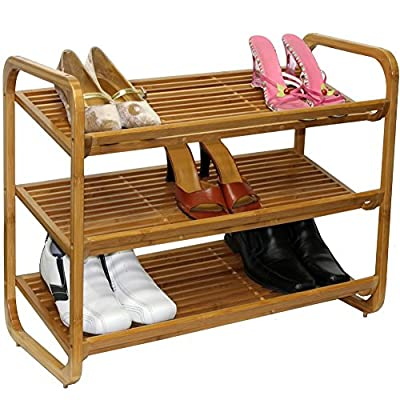 UNHO 3 Tiers Wooden Shoe Racks 76cm x 33cm x 51cm Stackable Shoes Storage Shelves Shoes Holder Oraganizer