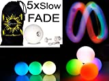 3x LED-Licht bis Kugeln Jonglierbälle 3er Set - Profi LED bälle+ Reisetasche! langsam verblassen