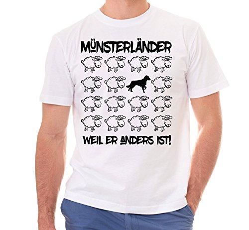 Siviwonder Unisex T-Shirt BLACK SHEEP - MÜNSTERLÄNDER großer kleiner - Hunde Fun Schaf Weiß