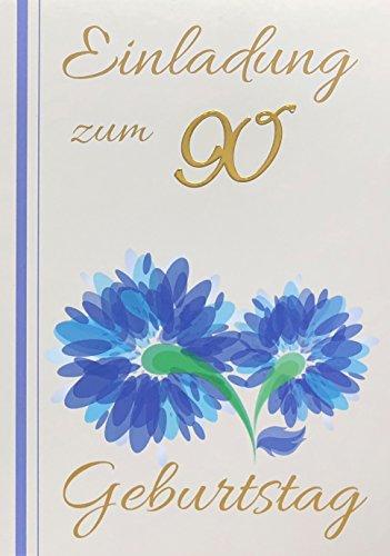 Einladungskarten 90. Geburtstag Mann Frau mit Innentext Motiv blaue Blume 10 Klappkarten DIN A6 im Hochformat mit weißen Umschlägen im Set Geburtstagskarten Einladung 90 Geburtstag Frau Mann K91