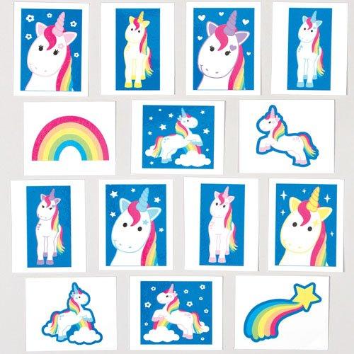"""Tattoos """"Regenbogen-Einhorn"""" für Kinder als kleine Überraschung oder als Preis bei Partyspielen (24 Stück)"""
