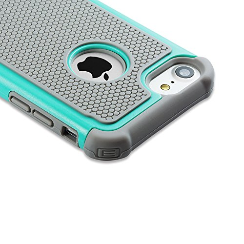 Coque iphone 8 & iPhone 7, [Resilient]Cover Protection de [Rugged Armor] Verde Menthe Ultime protection de chutes et impacts de iphone 8 & iPhone 7 Gris Gris