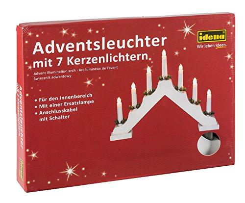 Idena 8582067 - Adventsleuchter aus weiß lackiertem Holz mit 7 Kerzenlichtern, inklusive Ersatzlampe, Anschlusskabel mit Schalter, ca. 40 x 30 cm - Beleuchtung Fuß-kerzen