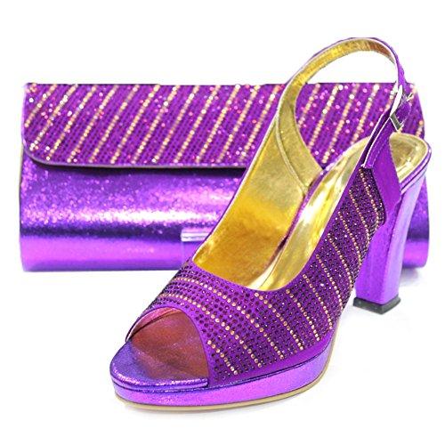 W & W Frauen Damen Kristall Strass Hochzeit Brautschmuck Schuhe und passender Tasche Größe 4–10(Eddy & MOBI) Violett