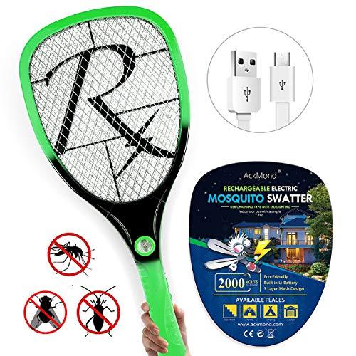 Samoa USB Elektrische Fliegenfänger/Elektrische Fliegenklatschen Erzeugt eine elektrische Spannung im Metallgitter anwendung im Haus und draußen mit neuen Griff (Grün)