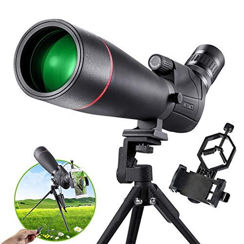 HUTACT Spektiv 20x-60x80, Geeignet für das Vogelbeobachtung, Jagd, Zielschießen, Bergwandern oder Sportschützen, 80mm Objektivlinse, Enthält Handyadapter, Stativ und Fernbedienung
