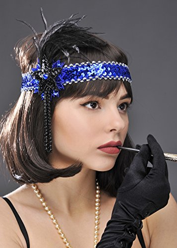1920er Jahre blaue Pailletten Flapper Stirnband (1920er Charleston Schwarz Flapper Fancy Dress Kostüm)