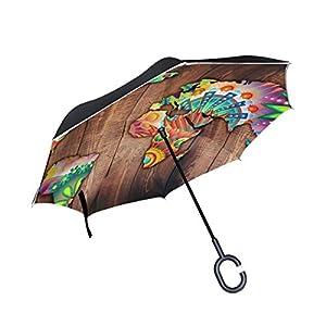 jstel doble capa diseño mapa del mundo abstracto flores y geométrico madera paraguas coches Reverse resistente al viento lluvia paraguas para coche al aire libre con asa en forma de C