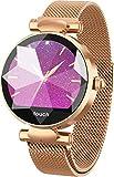 RanGuo - Reloj Inteligente para Mujeres y niños, Deportes al Aire Libre Bluetooth Smart Watch para Sistema Android y iOS, Apoyo recordatorio de Llamada y recordatorio de Mensaje (Dorado)