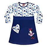 Mädchen-Kleid Minnie Mouse in GRÖSSE 80, 86, 92, 98, 104, 110 116, LANG-ARM, Retro-Muster in blau, leichtes Sommer-Kleid, ideal als Strand-Kleid, Freizeit-Kleid oder Fest-Kleid Size 110