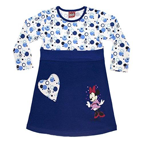 Mädchen-Kleid Minnie Mouse in GRÖSSE 80, 86, 92, 98, 104, 110 116, LANG-ARM, Retro-Muster in blau, leichtes Sommer-Kleid, ideal als Strand-Kleid, Freizeit-Kleid oder Fest-Kleid Size 116 (Weibliche Mickey Mouse Kostüme)