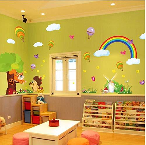Wandaufkleber Tier Löwe Cartoon niedlichen kleinen Löwen heißen Ballon Wand Paste für Kinder Haushalt Aufkleber kreative DIY Art Decals Haus Dekoration